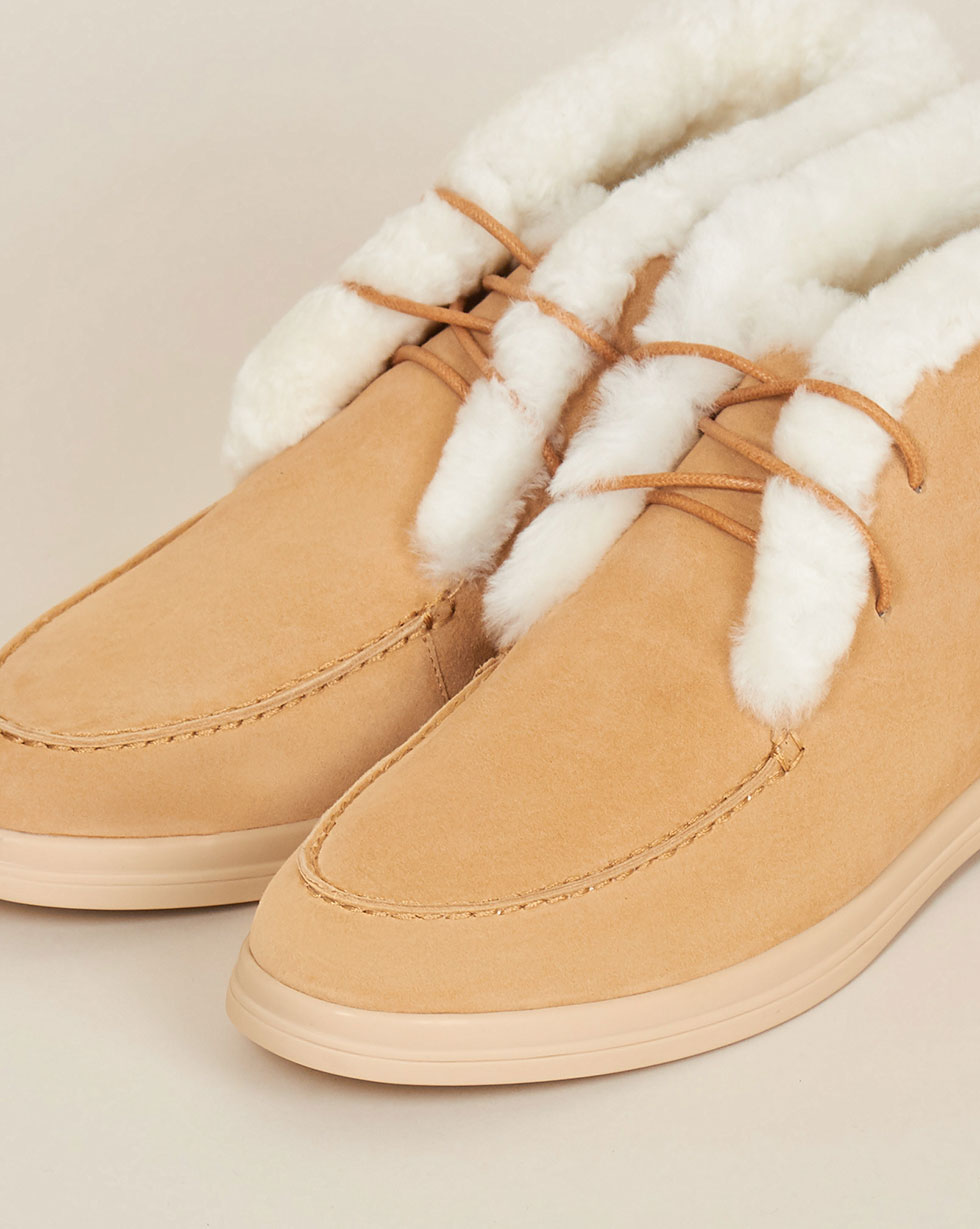 12Storeez Ботинки с мехом на шнурках (песочный) 12storeez полуботинки из замши с мехом песочный