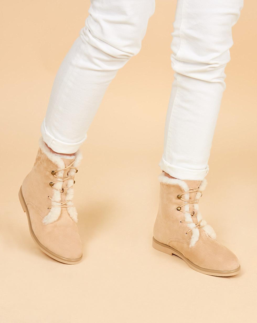 12Storeez Ботинки высокие с мехом (светло-песочные) 12storeez полуботинки на рифленой подошве со шнурками светло серые