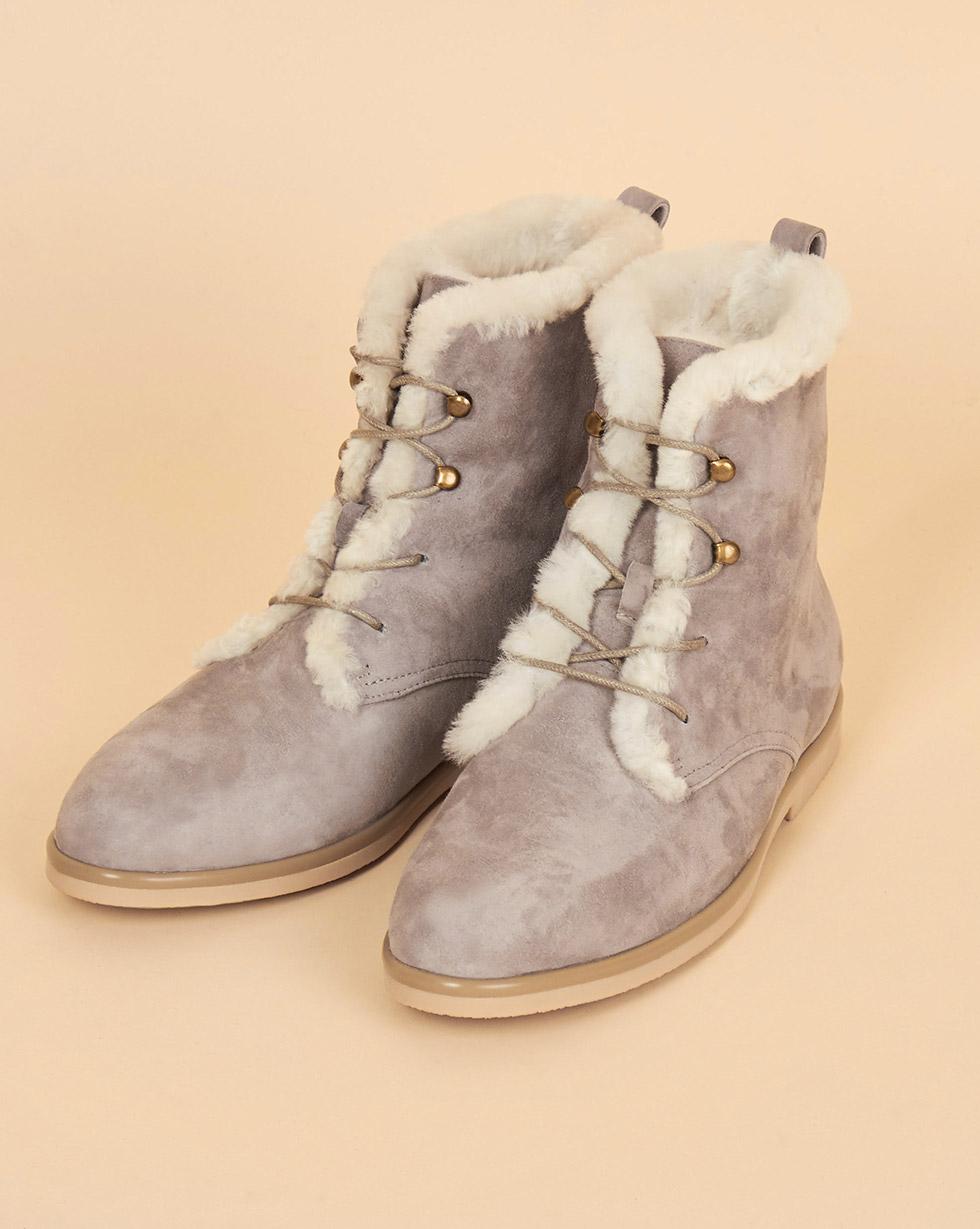 12Storeez Ботинки высокие с мехом (светло-серые) 12storeez полуботинки на рифленой подошве с мехом темно серые