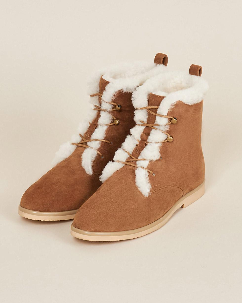 12Storeez Ботинки высокие с мехом (светло-коричневые) 12storeez полуботинки на рифленой подошве со шнурками светло серые