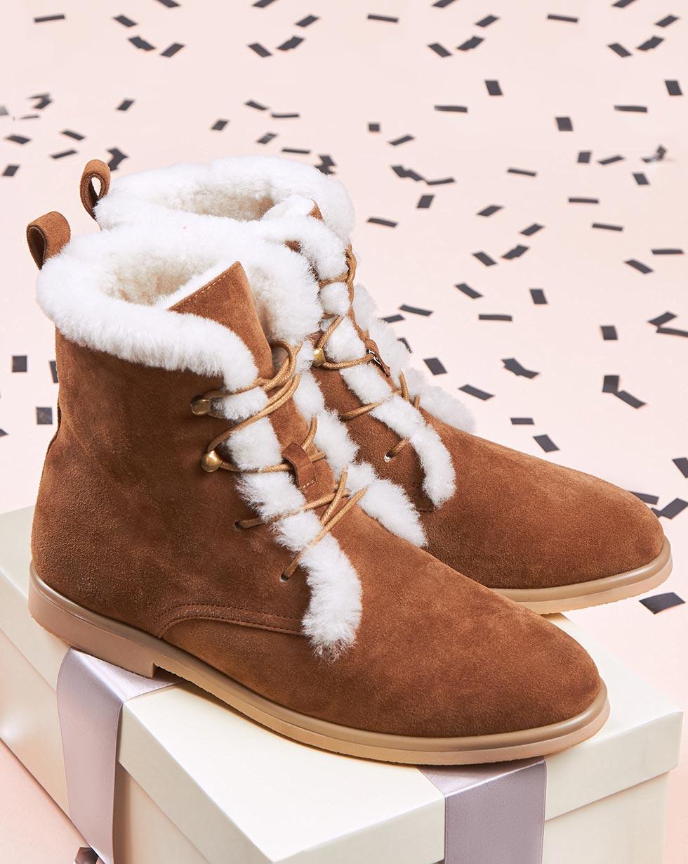 12Storeez Ботинки высокие с мехом (светло-коричневые) цены онлайн
