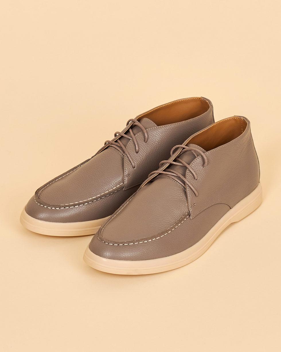12Storeez Полуботинки из кожи на шнурках (светло-серый) 12storeez полуботинки на шнурках с мехом песочные