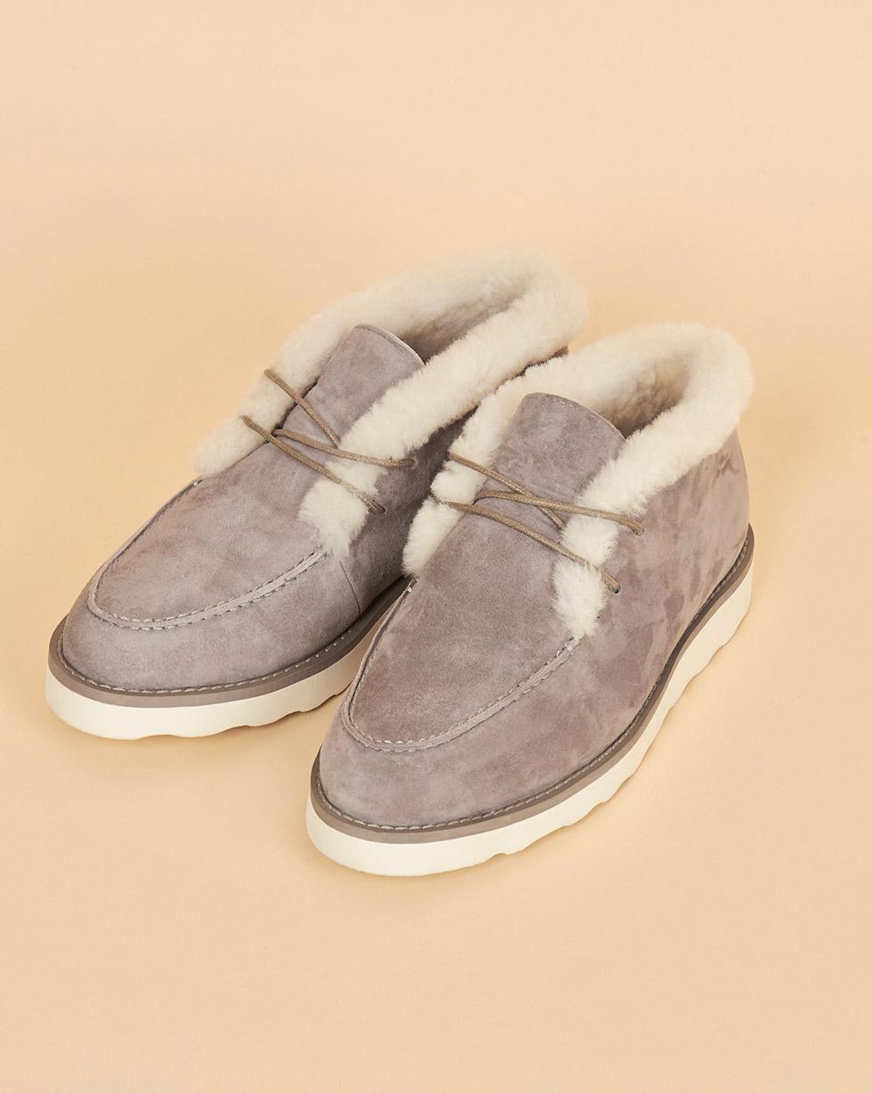 12Storeez Полуботинки на рифленой подошве со шнурками (светло-серые) 12storeez полуботинки на рифленой подошве с мехом темно серые