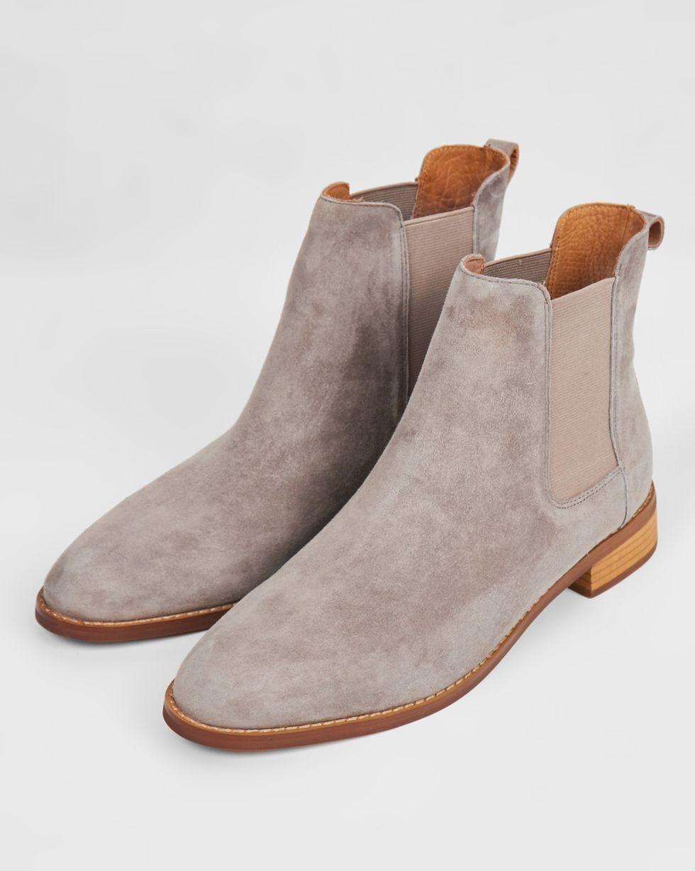 Ботинки из замши с резинкой 35Обувь<br><br><br>Артикул: 818411424<br>Размер: 35<br>Цвет: Светло-серый<br>Новинка: НЕТ<br>Наименование en: Suede chelsea boots