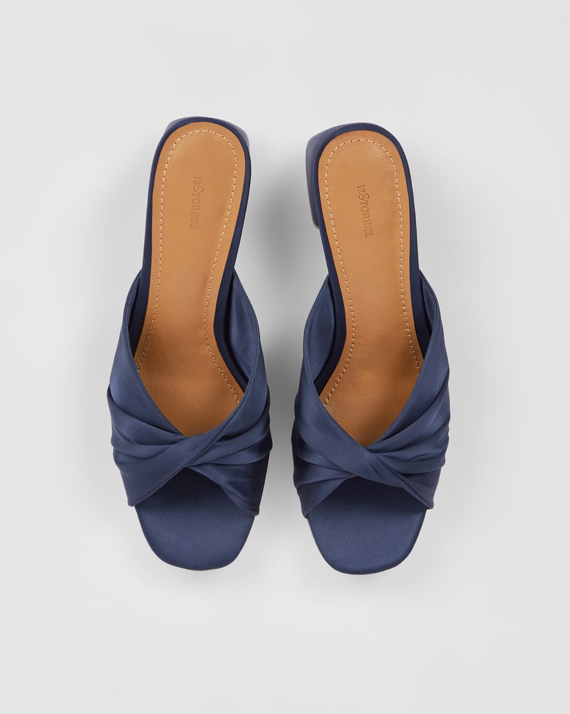 12Storeez Мюли с открытым носом на низком каблуке (синие) 12storeez мюли с открытым носом на низком каблуке оливковые