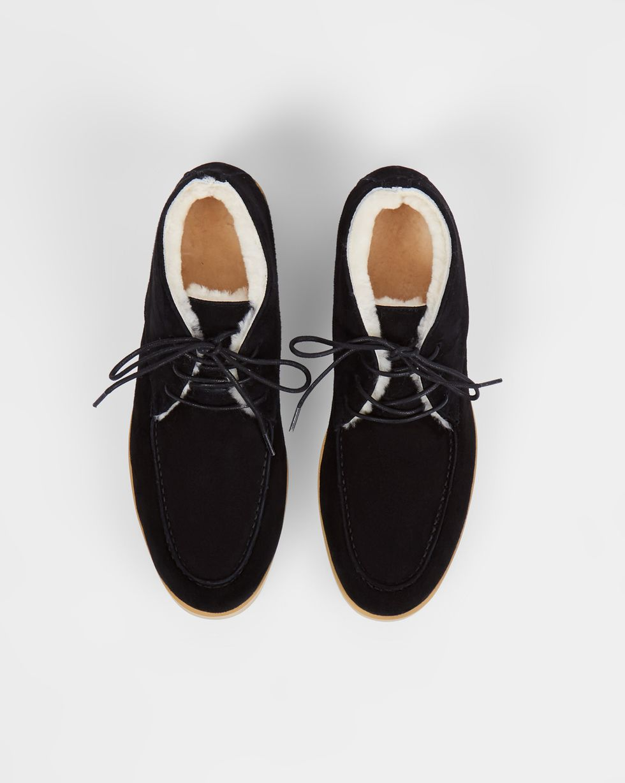 12Storeez Полуботинки на шнурках с мехом (черные) 12storeez полуботинки из замши с мехом песочный