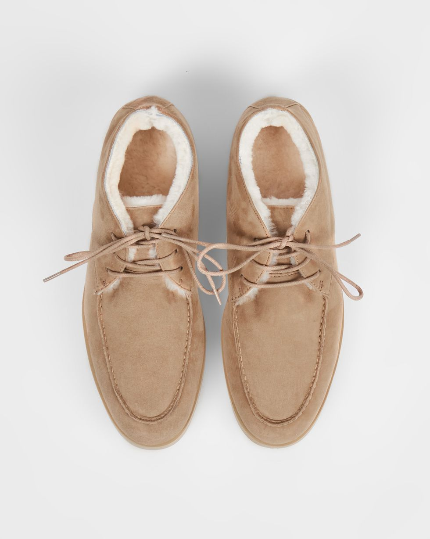 12Storeez Полуботинки на шнурках с мехом (песочные) 12storeez ботинки из замши с резинкой песочные
