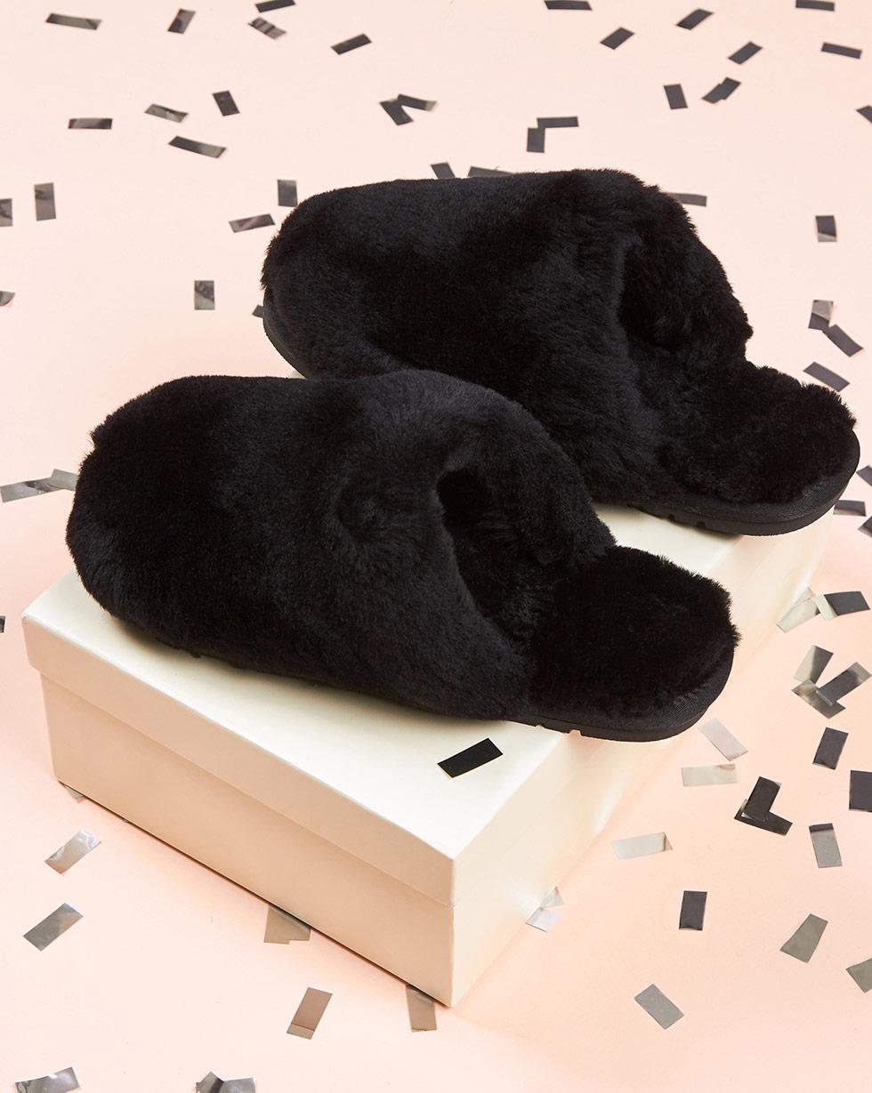 12Storeez Тапочки закрытые из овчины (черные)