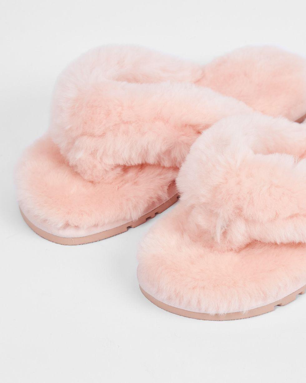 12Storeez Тапочки с перемычкой из овчины (розовые)