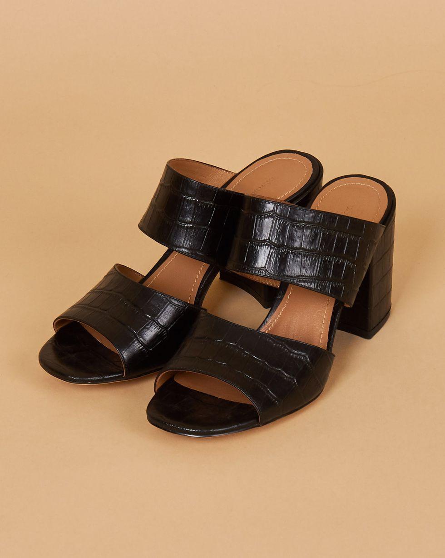 12Storeez Мюли с выделкой под крокодила на каблуке (черные)
