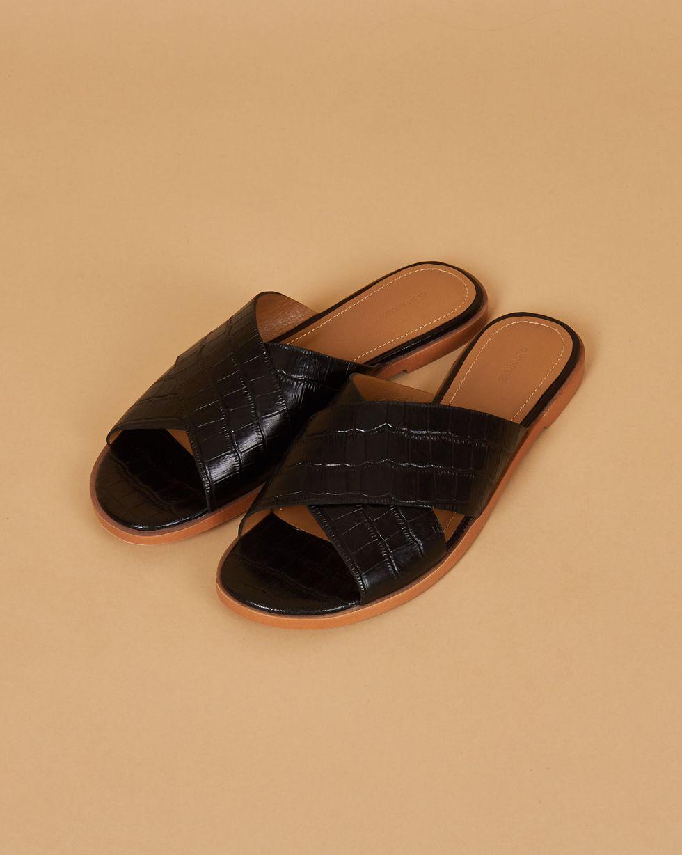 12Storeez Сандалии с выделкой под крокодила (черные) 12storeez сандалии на плоской подошве оливковые