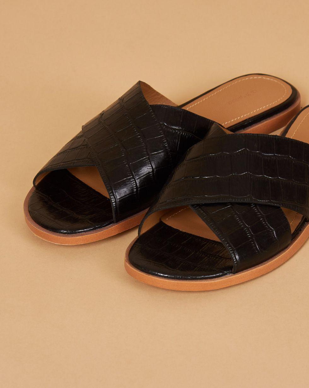12Storeez Сандалии с выделкой под кожу крокодила (черные)