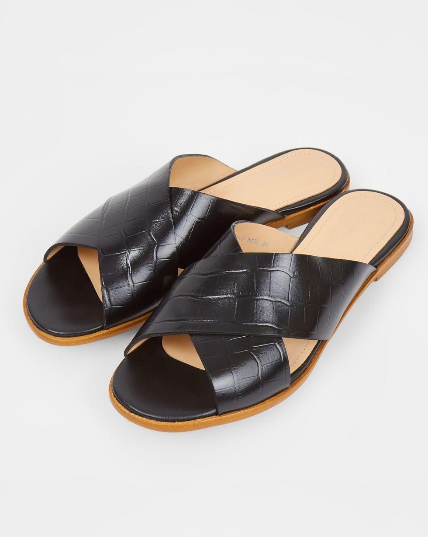 12Storeez Сандалии с выделкой под кожу крокодила (черные) 12storeez сандалии на плоской подошве оливковые