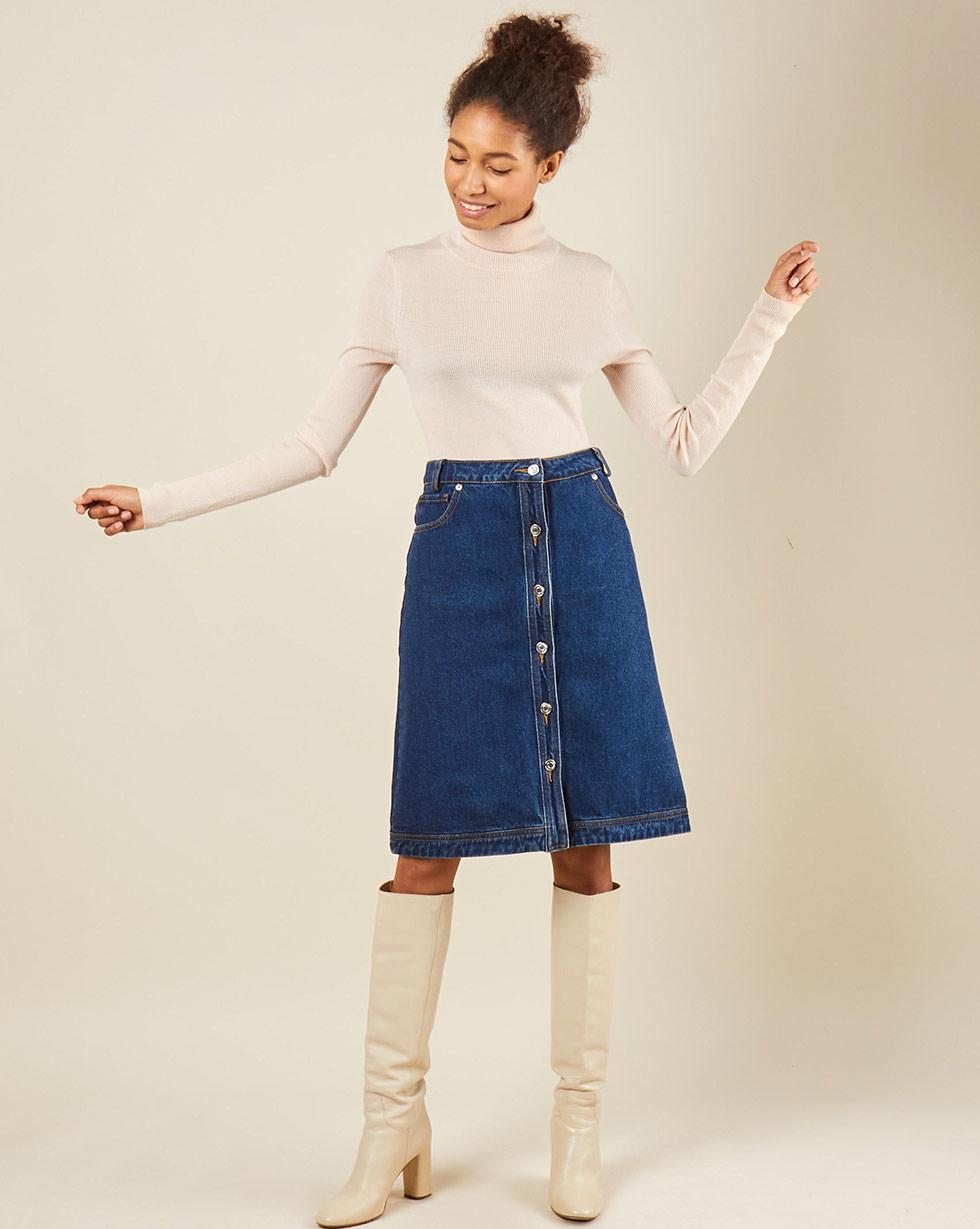 12Storeez Джинсовая юбка (синий) юбка короткая из денима с геометрическим рисунком