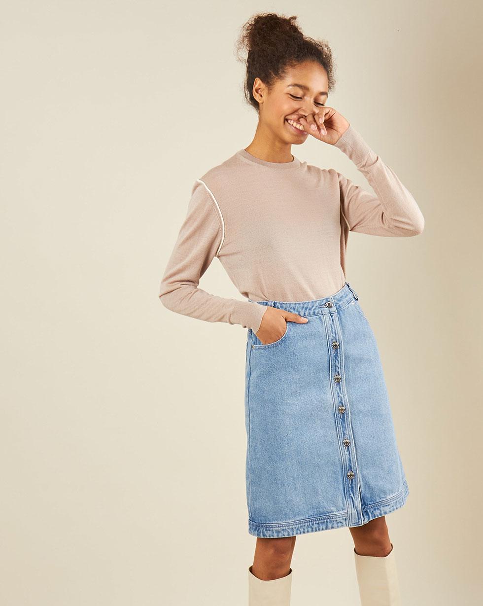 12Storeez Джинсовая юбка (голубой) юбка короткая из денима с геометрическим рисунком