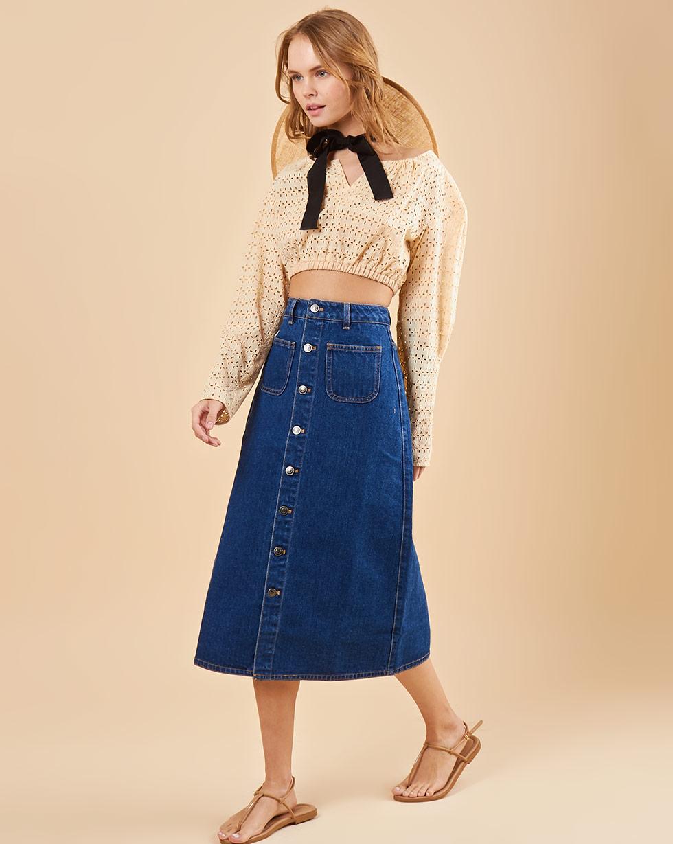 12Storeez Джинсовая юбка миди на пуговицах (синий) SS19