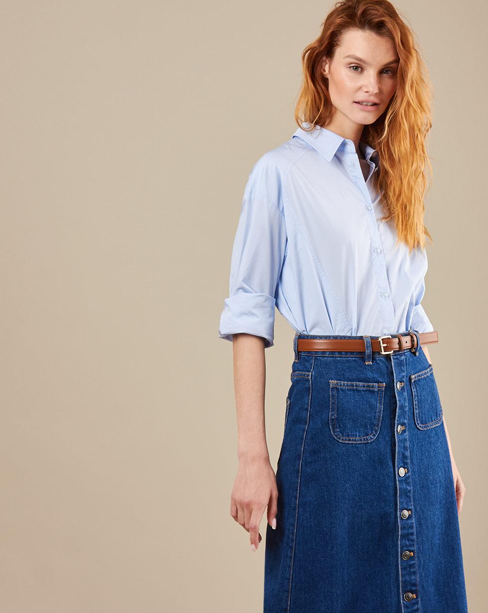 12Storeez Джинсовая юбка миди на пуговицах (синий) SS19 юбка с запахом на пуговицах