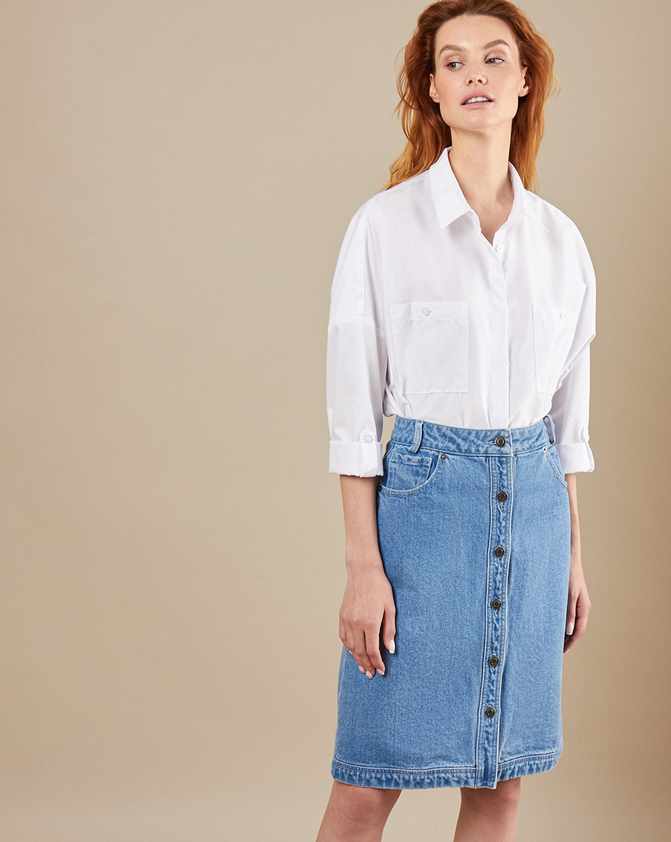 12Storeez Джинсовaя юбка (голубой) SS19 юбка короткая из денима с геометрическим рисунком