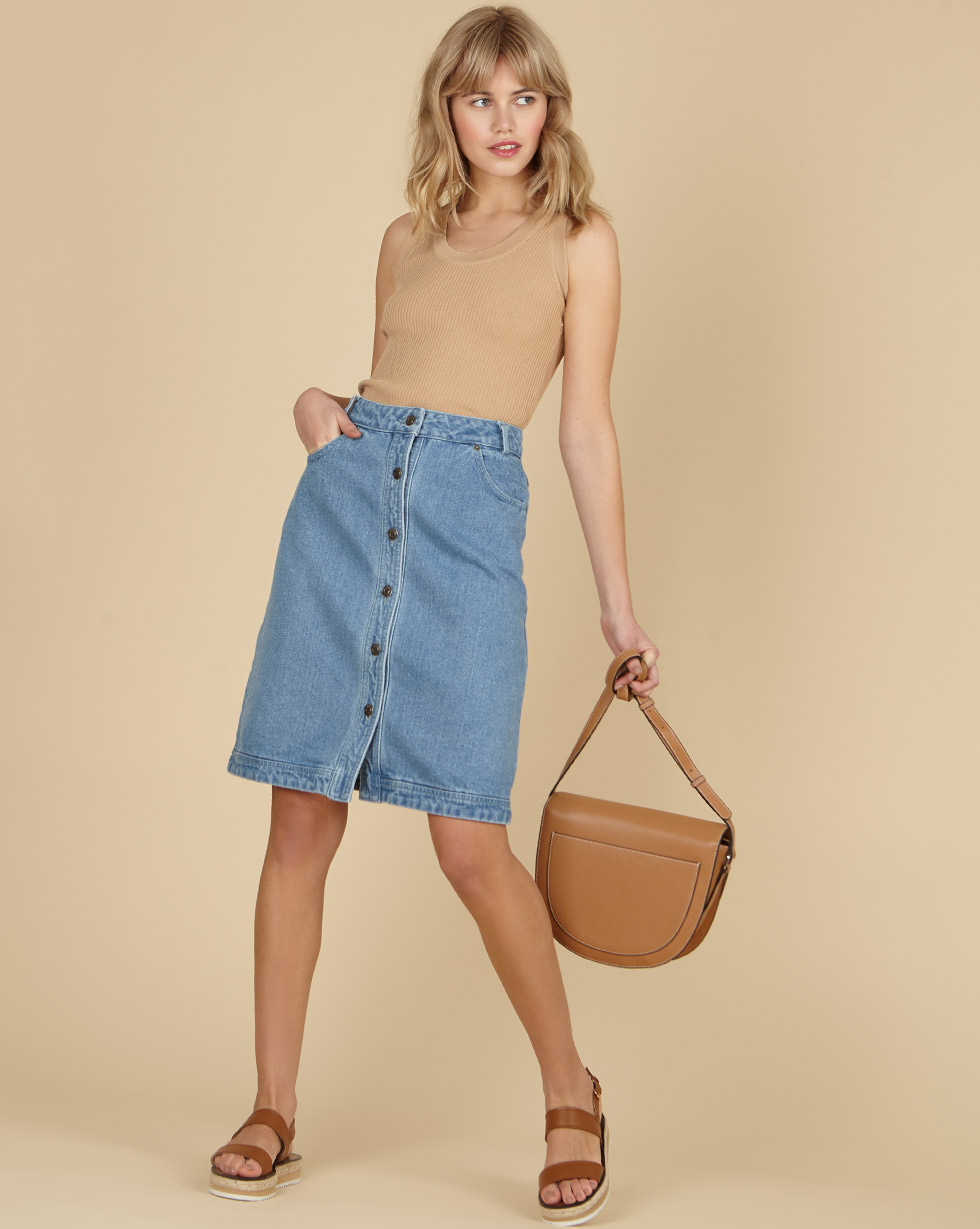 12Storeez Джинсовaя юбка (голубой) SS19 цена 2017