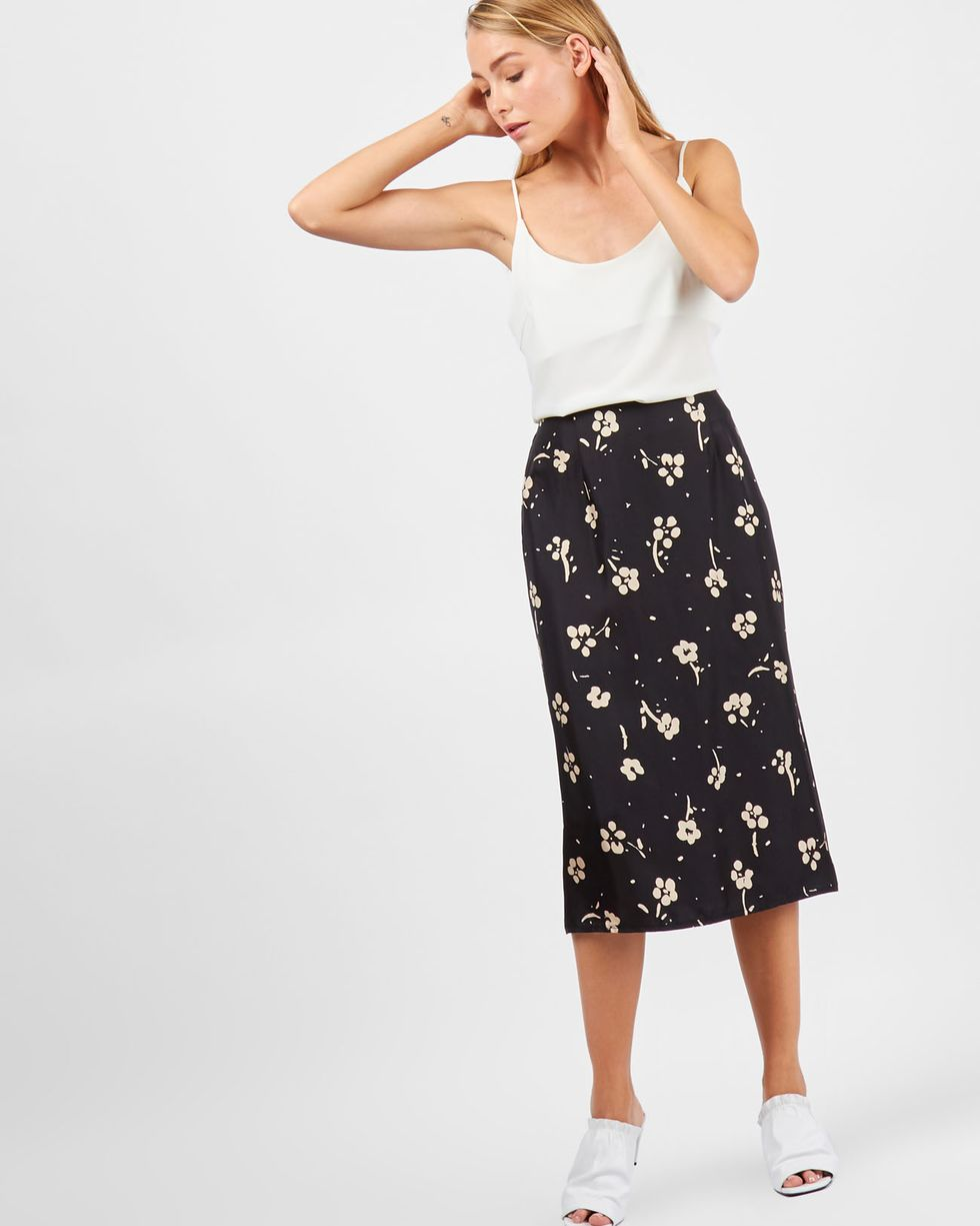 12Storeez Юбка миди в цветок (черная) 12storeez юбка миди из плотного хлопка в цветок синяя