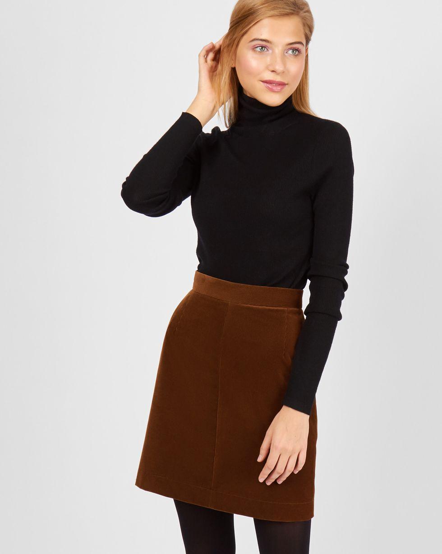 12Storeez Юбка мини из вельвета (коричневый) 12storeez комплект кардиган и плиссированная юбка коричневый черный