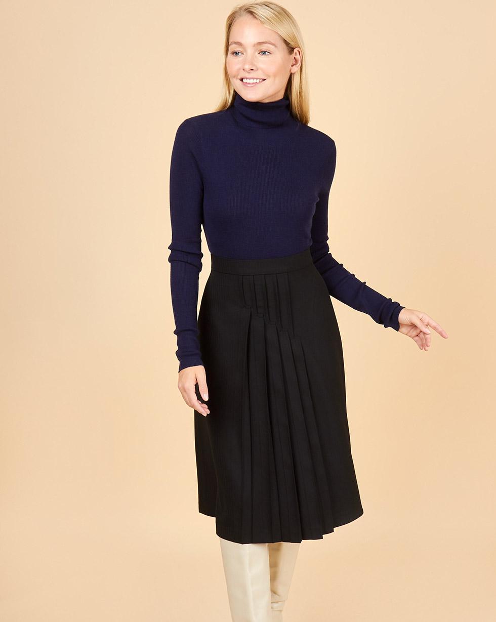 12Storeez Юбка миди со складками спереди (черный) 12storeez комплект жакет облегченный и юбка мини коричневый
