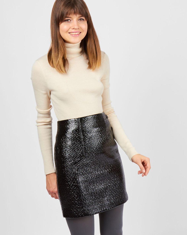 Юбка мини из лакированной кожи MЮбки<br><br><br>Артикул: 82711389<br>Размер: M<br>Цвет: Черный<br>Новинка: НЕТ<br>Наименование en: Faux patent leather mini skirt