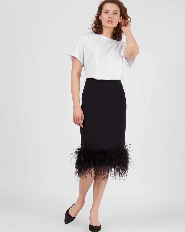 12Storeez Юбка миди с перьями (черный) юбка миди ремешок на поясе