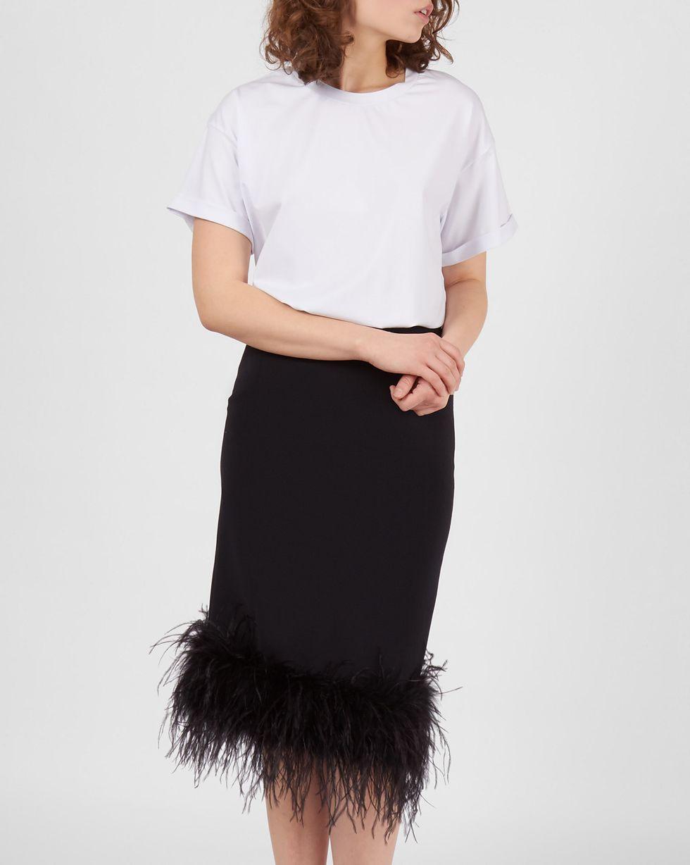 12Storeez Юбка миди с перьями (черный) 12storeez юбка миди из лакированной кожи черный
