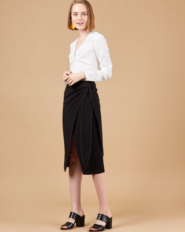 12Storeez Юбка на запах с завязками (черный) 12storeez блуза с бантом в горох черная