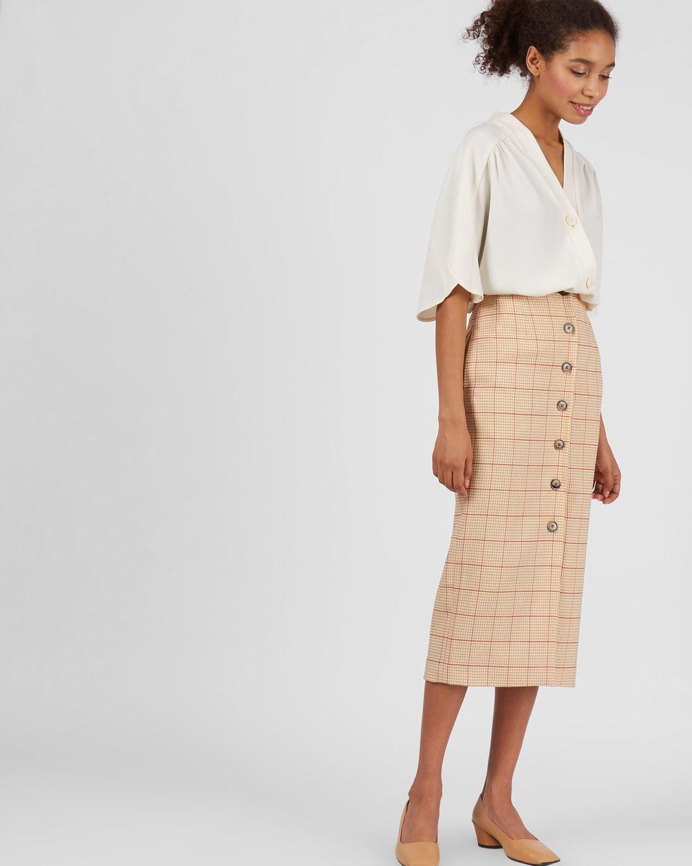 12Storeez Юбка миди на пуговицах спереди (светло коричневый) юбка миди в клетку на пуговицах сбоку