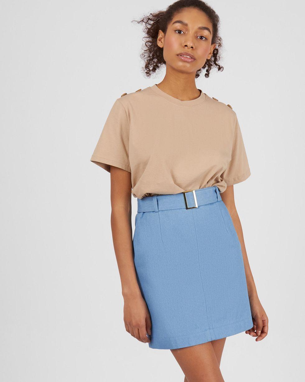 Юбка мини со съемным поясом  LЮбки<br><br><br>Артикул: 82713932<br>Размер: L<br>Цвет: Голубой<br>Новинка: НЕТ<br>Наименование en: Belted mini skirt