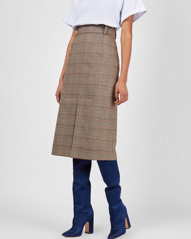 12Storeez Юбка миди со складкой спереди (коричневый в клетку) 12storeez комплект жакет облегченный и юбка мини коричневый