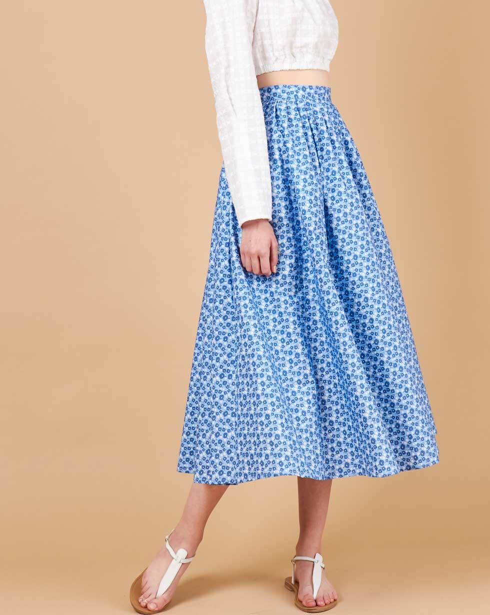 12Storeez Юбка-трапеция со складками (голубой с цветами) юбка белая с принтом molo ут 00012872