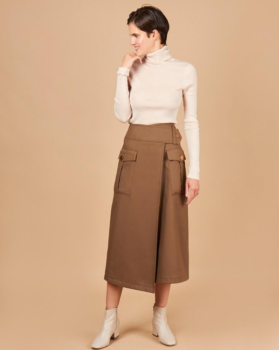 12Storeez Юбка с накладными карманами (коричневый) woolrich черная парка с накладными карманами