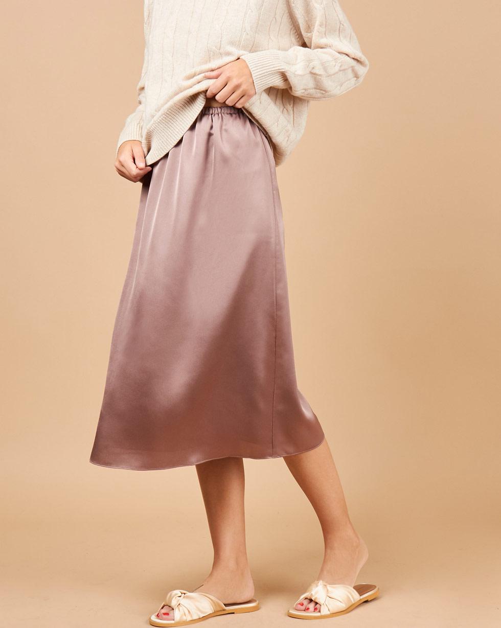 12Storeez Юбка миди на резинке (кофейный) demurya юбка шёлковая миди