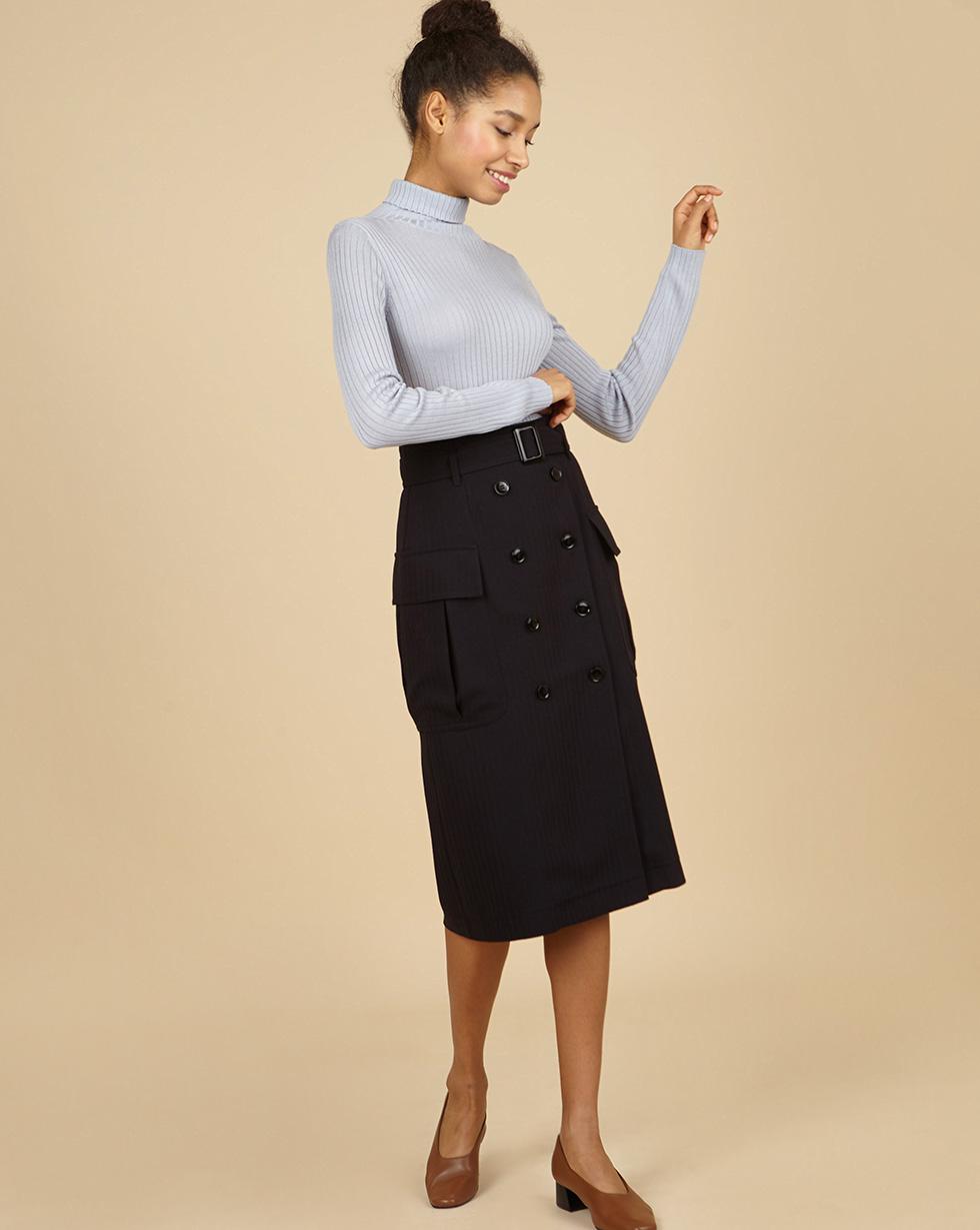 12Storeez Юбка миди со съемным поясом (черный) футболка заправленная в юбку