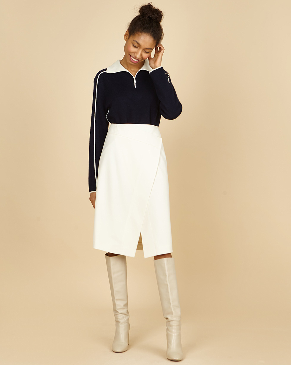 12Storeez Юбка миди с запахом (белый) 12storeez юбка миди c запахом на пуговицах белая