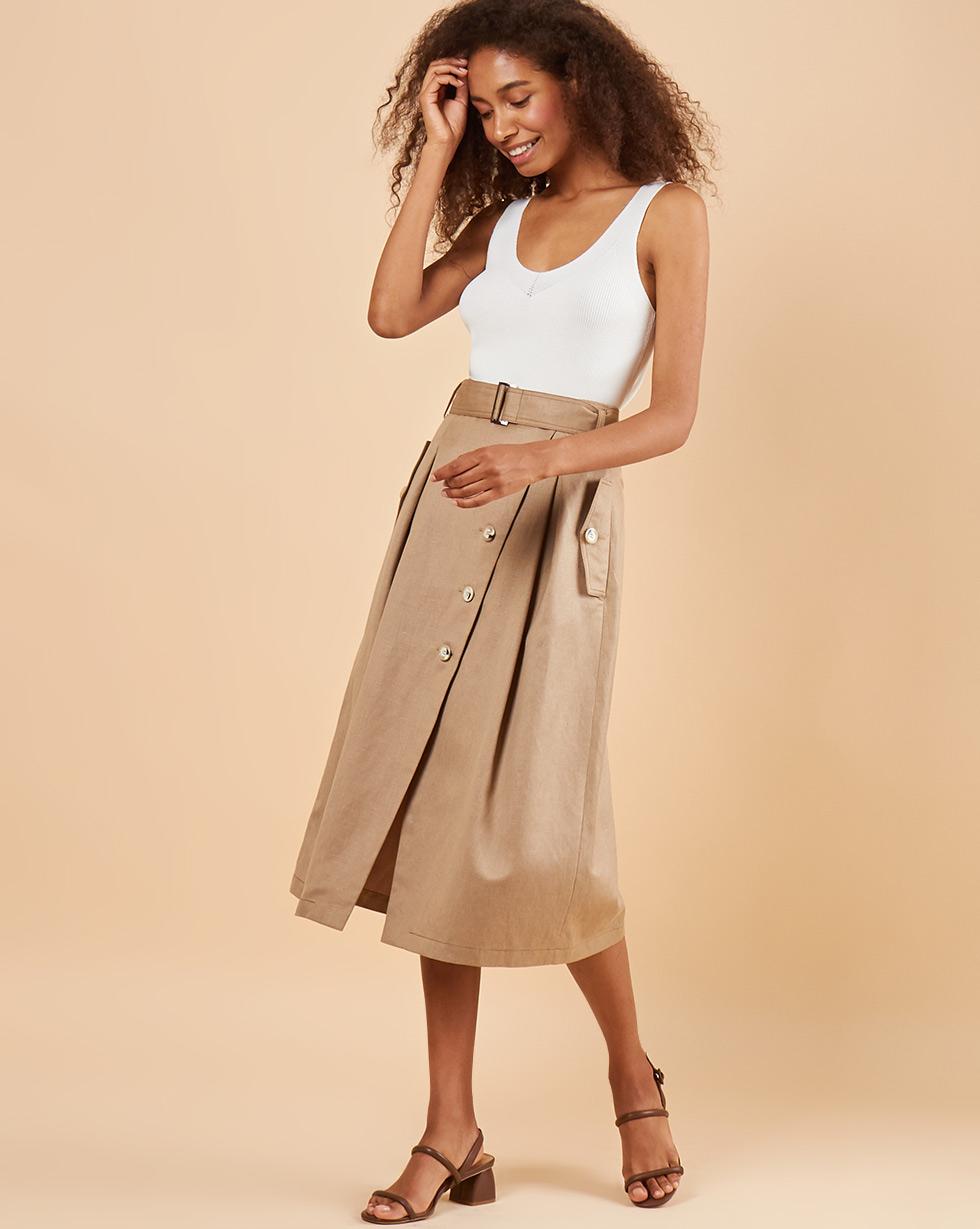 12Storeez Юбка на пуговицах с клапанами (песочный) юбка с запахом на пуговицах