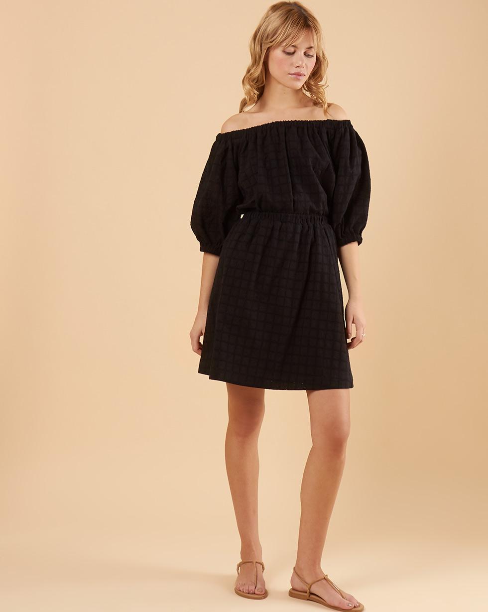 12Storeez Юбка мини из шитья со сборкой (черный) юбка короткая из денима с геометрическим рисунком