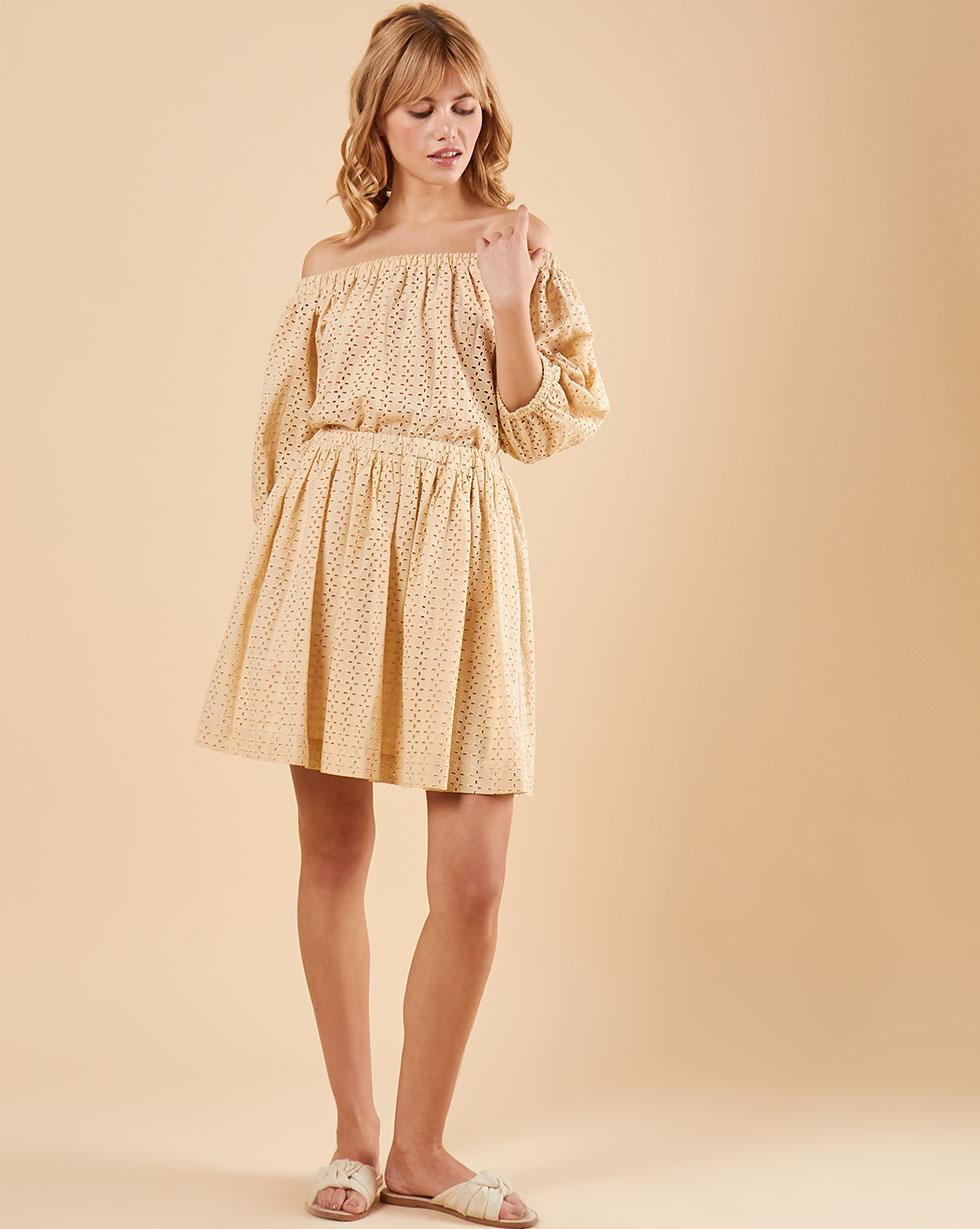 12Storeez Юбка мини из шитья со сборкой (бежевый) юбка короткая из денима с геометрическим рисунком