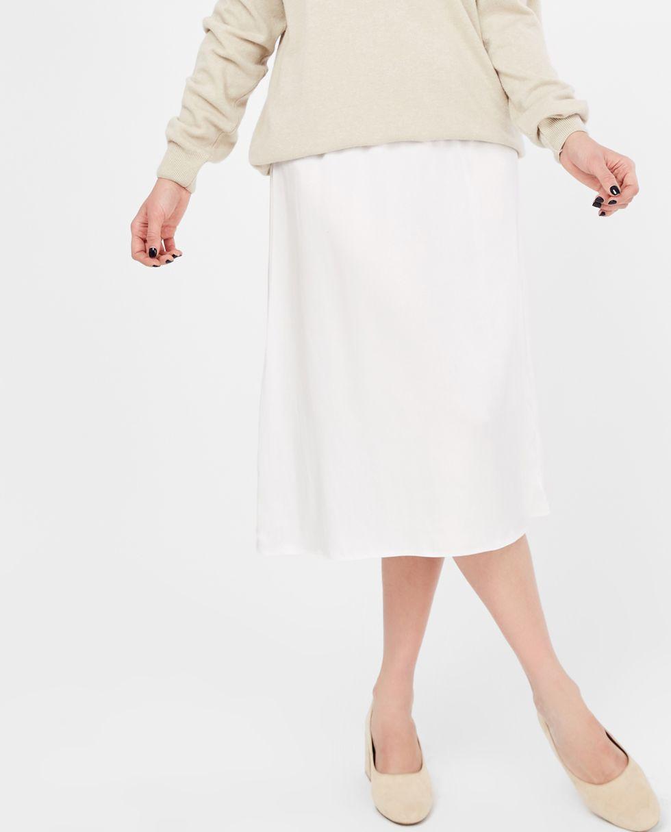 12Storeez Юбка миди из шелка на резинке (молочная) буэнос ниньос женщин туту юбка миди pettiskirt двойной слой