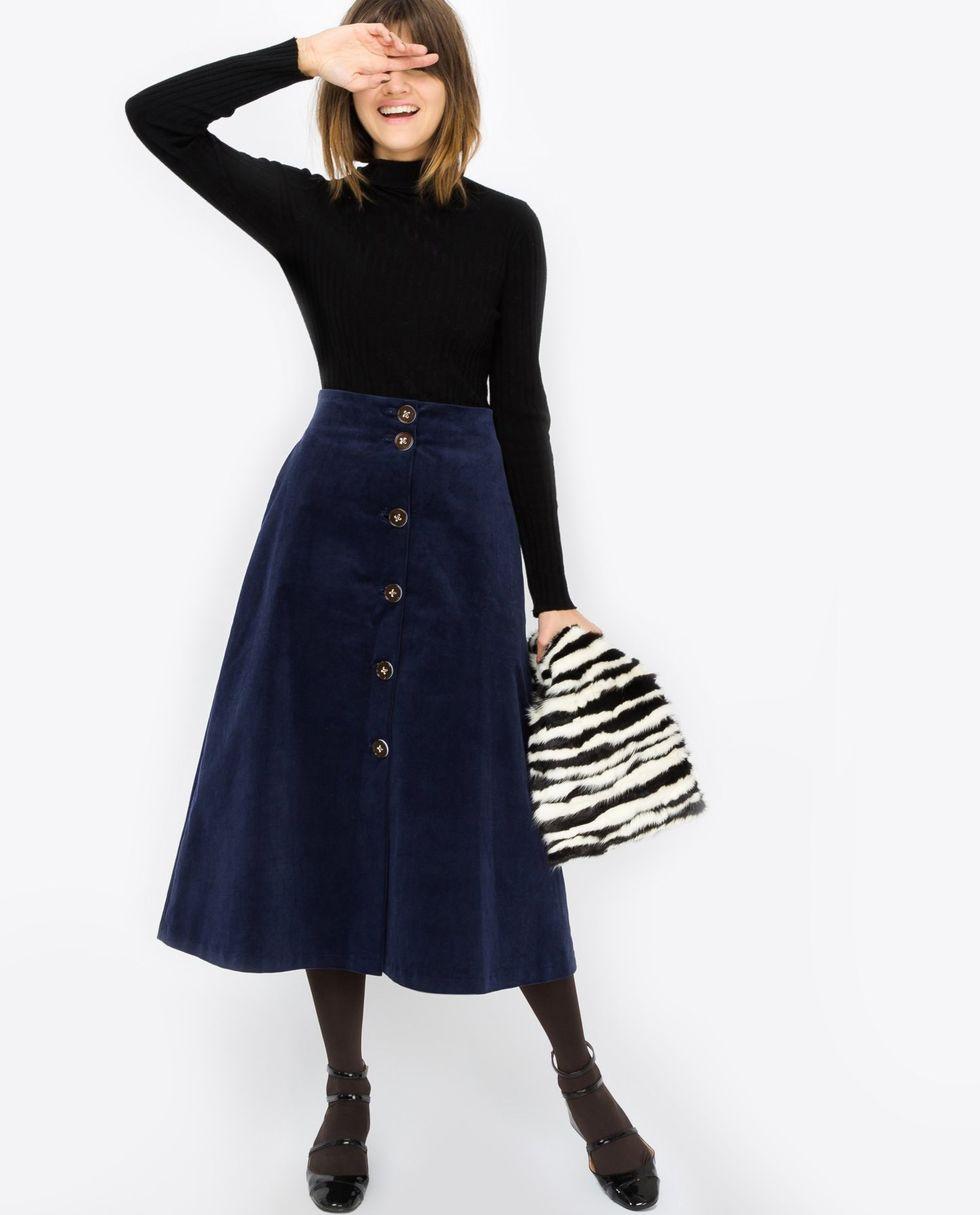 12Storeez Юбка миди расклешенная из вельвета (синяя) буэнос ниньос женщин туту юбка миди pettiskirt двойной слой