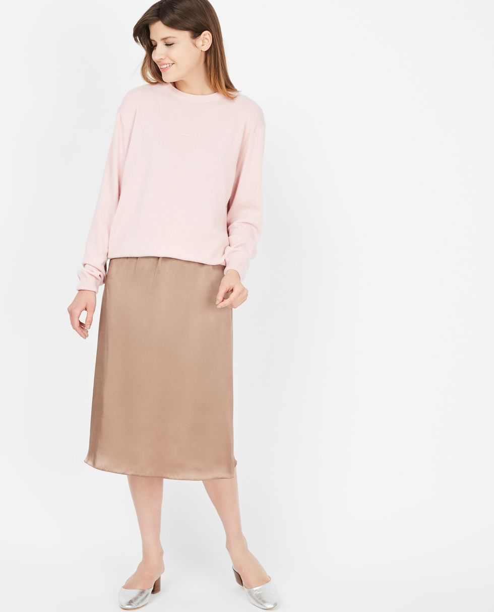 12Storeez Юбка миди из шелка на резинке (шоколад) demurya юбка шёлковая миди