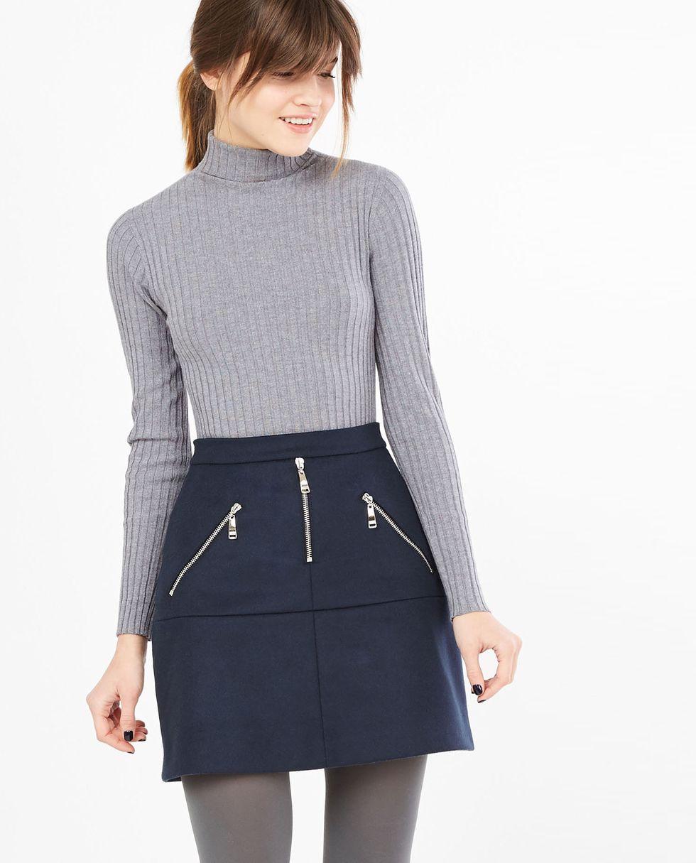 Юбка мини на молнии Mюбки<br><br><br>Артикул: 8276863<br>Размер: M<br>Цвет: Темно-синий<br>Новинка: НЕТ<br>Наименование en: Zipper detail mini skirt