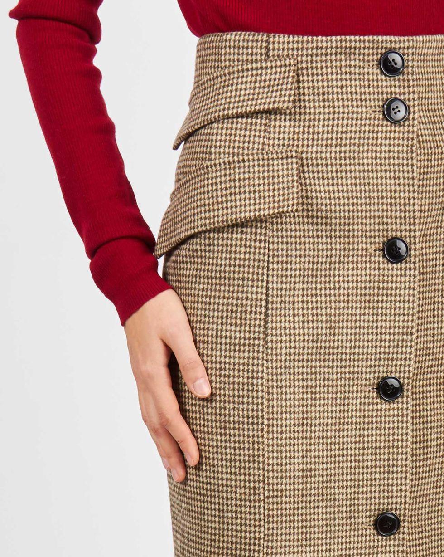 12Storeez Юбка миди с клапанами (коричневая) буэнос ниньос женщин туту юбка миди pettiskirt двойной слой