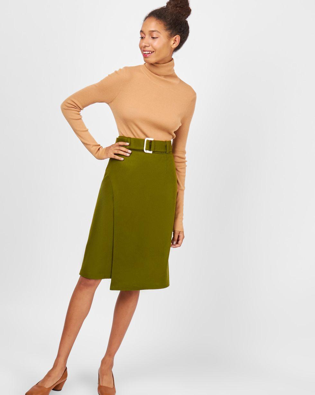 12Storeez Юбка миди с запахом (зеленая) юбка миди цвет персиковый c h i c