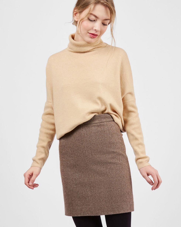 12Storeez Юбка мини с отстрочкой (коричневый меланж) 12storeez комплект жакет облегченный и юбка мини коричневый