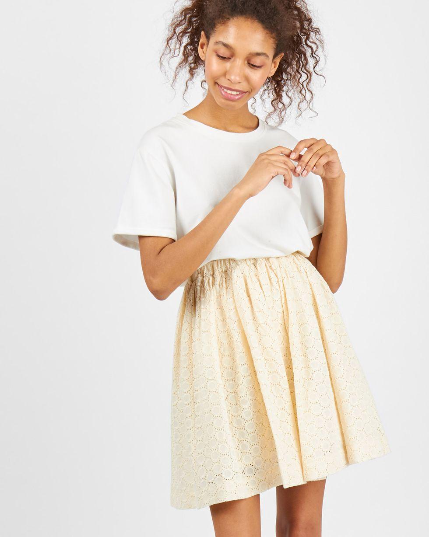 Юбка мини из шитья со сборкой Mюбки<br><br><br>Артикул: 8278593<br>Размер: M<br>Цвет: Молочный<br>Новинка: НЕТ<br>Наименование en: Embroidered pleated skirt
