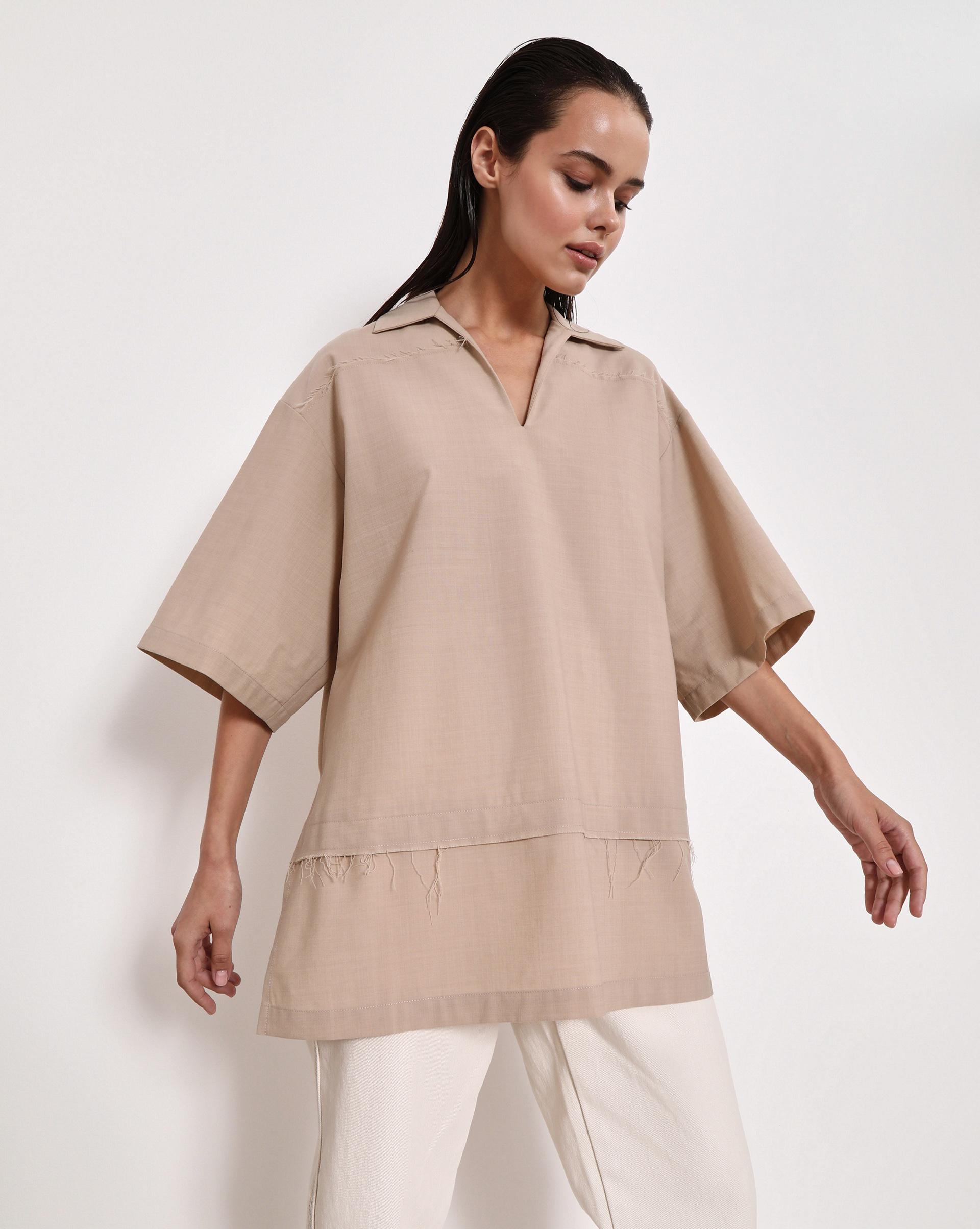 12STOREEZ Блуза с разрезами по бокам (Бежевый)
